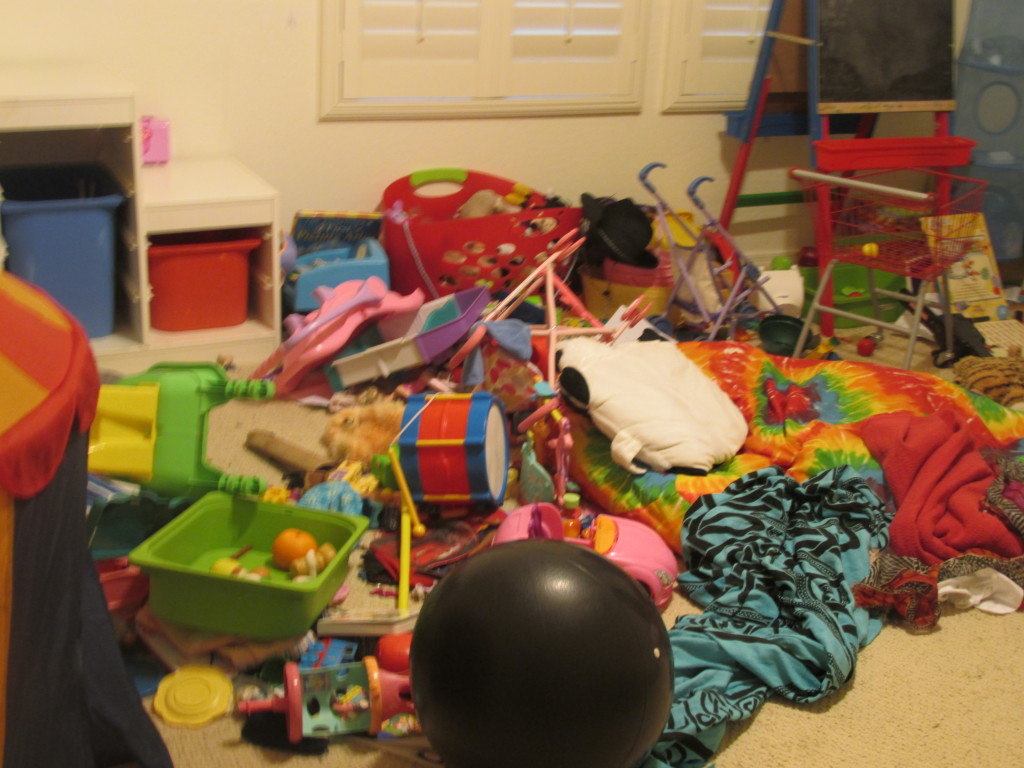 The playroom... this is fairly representative of most of the upstairs bedrooms these days.